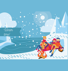 people having winter picnic with bonfire food and vector image