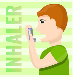 people inhaler use concept background cartoon vector image