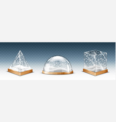Realistic glass cube pyramid and dome with snow vector