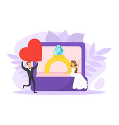 romantic couple newlyweds tiny bride sitting vector image