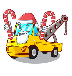 Santa with candy tow truck for vehicle branding vector