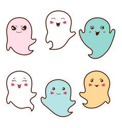 Set of kawaii ghosts with different facial vector