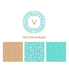 set of logo design templates seamless patterns and vector image