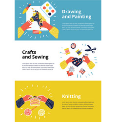 Set of of kids art-working process vector