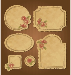 Set of retro floral vintage frames and labels vector image