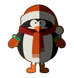 Silhouette of penguin with boots scarf and gloves vector