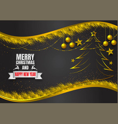 snowflake and ball on dark and gold background vector image