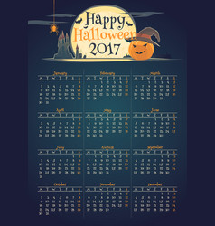 Stylish halloween calendar for year 2017 vector