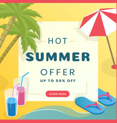 summer sale social media banner template tropical vector image