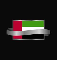 uae flag ribbon banner design vector image