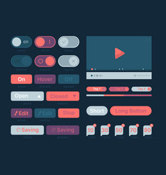 ui kit web themes icon buttons bar menu search vector image
