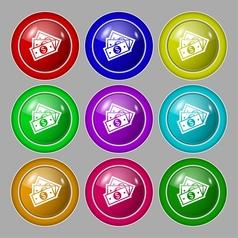 Us dollar icon sign symbol on nine round colourful vector image