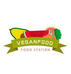 vegan food station ribbon fruits background vector image