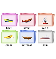 Water transportations on flashcards vector