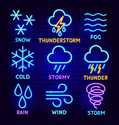weather forecast neon label set vector image