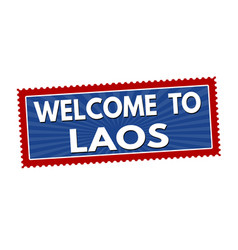 welcome to laos travel sticker or stamp vector image