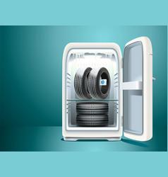 winter car tires in fridge vector image