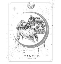 Witchcraft card with astrology cancer zodiac sign vector