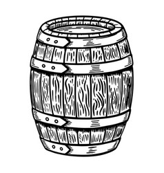 wooden barrel isolated on white design element vector image