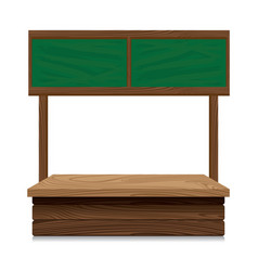 Wooden market stall with green board on white vector