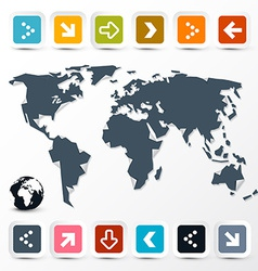 World Map with Paper Colorful Arrows on Light vector image