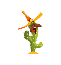 cactus character with sombrero hat and mustache vector image