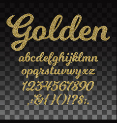 gold glitter font golden alphabet with vector image