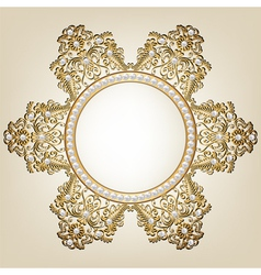 Jewelry gold frame with pearls on beige background vector image vector image