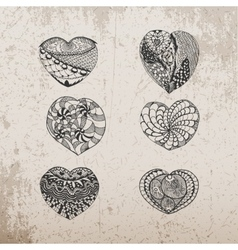 Valentines Day hand drawn Hearts Collection vector image vector image