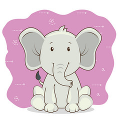 cute adorable elephant animal cartoon vector image