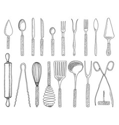 dining or snack fork for oysters ice cream spoon vector image