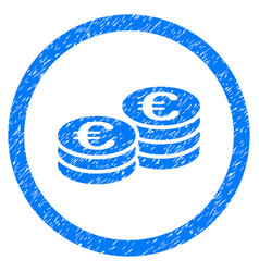 euro coin stacks rounded icon rubber stamp vector image