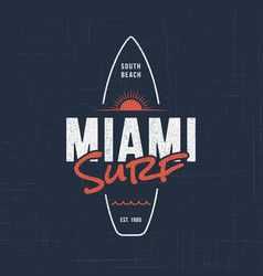 miami florida surf t-shirt and apparel design vector image