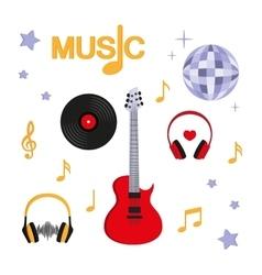 Music Guitar music record headphones disco vector image