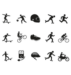 street sport biking skating skateboarding icons vector image