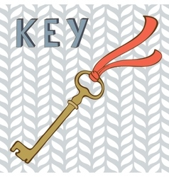 Vintage key with ribbon vector