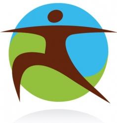 yoga fitness logo vector image vector image