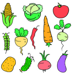 Doodle of vegetable stock collection vector