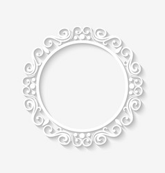 Vintage circle border white frame vector