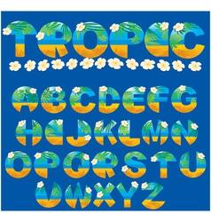 Alphabet - tropical letters vector image