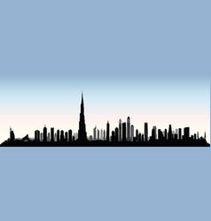 city dubai skyline uae cityscape united arab vector image