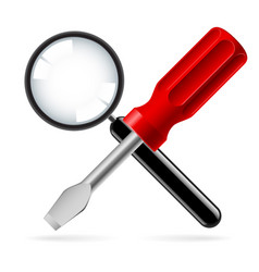 Magnifying glass and screwdriver on white vector