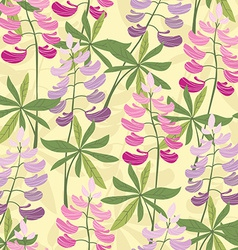 Seamless floral lupine pattern vector image