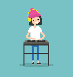 young girl dj wearing headphones and scratching a vector image