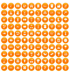 100 global warming icons set orange vector