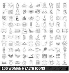 100 woman health icons set outline style vector image