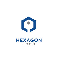 abstract hexagon with key logo design inspiration vector image