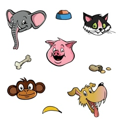 Animal heads wallpaper background vector image