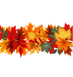 Autumn seamless border with falling leaves vector