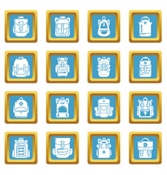 Backpack icons set sapphirine square vector